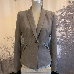 Zara | Gray Blazer with Zipper Pocket Accents